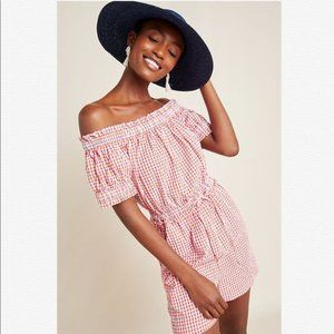 NWT Anthropologie Checked Off-The-Shoulder Romper